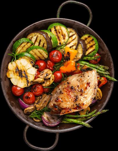 Filezinho de frango com molho de tomates fresco e manjericão